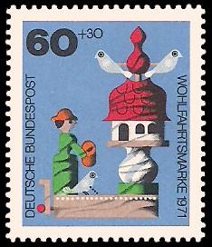 60 + 30 Pf Briefmarke: Wohlfahrtsmarke 1971, Holzspielzeug