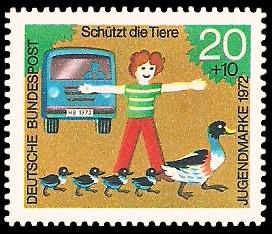 20 + 10 Pf Briefmarke: Jugendmarke 1972, Schützt die Tiere