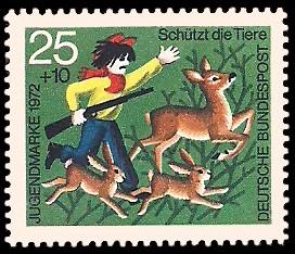 25 + 10 Pf Briefmarke: Jugendmarke 1972, Schützt die Tiere