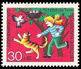 30 + 15 Pf Briefmarke: Jugendmarke 1972, Schützt die Tiere
