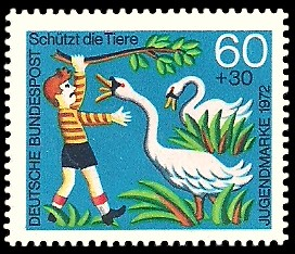 60 + 30 Pf Briefmarke: Jugendmarke 1972, Schützt die Tiere