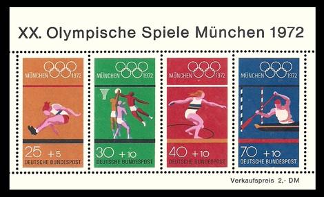 2 DM Briefmarke: Block: XX. Olympische Spiele 1972 in München