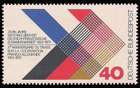 40 Pf Briefmarke: 10 Jahre Vertrag über die deutsch-französische Zusammenarbeit