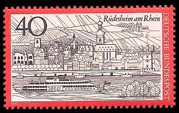 40 Pf Briefmarke: Rüdesheim am Rhein