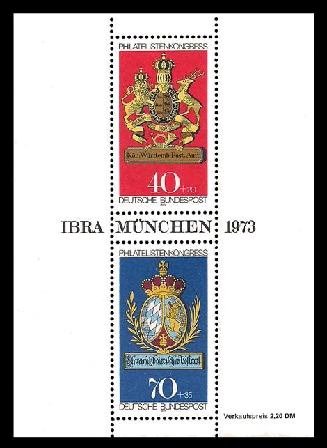 2,20 DM Briefmarke: Block: Philatelistenkongress und IBRA München 1973
