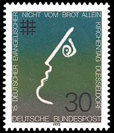 30 Pf Briefmarke: 15. Deutscher Evangelischer Kirchentag in Düsseldorf