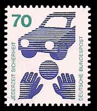 70 Pf Briefmarke: Jederzeit Sicherheit