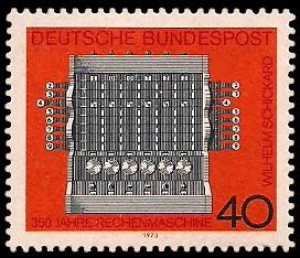 40 Pf Briefmarke: 350 Jahre Rechenmaschine