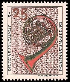 25 + 10 Pf Briefmarke: Wohlfahrtsmarke 1973, Musikinstrumente