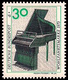 30 + 15 Pf Briefmarke: Wohlfahrtsmarke 1973, Musikinstrumente