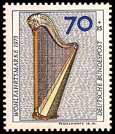 70 + 35 Pf Briefmarke: Wohlfahrtsmarke 1973, Musikinstrumente