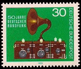30 Pf Briefmarke: 50 Jahre deutscher Rundfunk