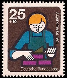 25 + 10 Pf Briefmarke: Jugendmarke 1974, Jugendarbeit