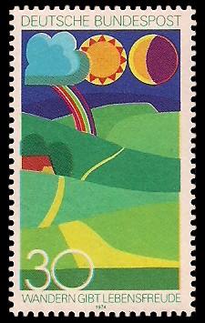 30 Pf Briefmarke: Wandern gibt Lebensfreude
