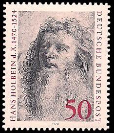 50 Pf Briefmarke: 450. Todestag Hans Holbein der Ältere