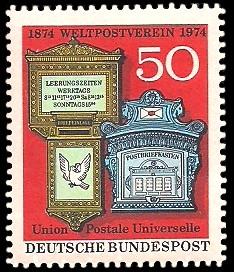 50 Pf Briefmarke: 100 Jahre Weltpostverein