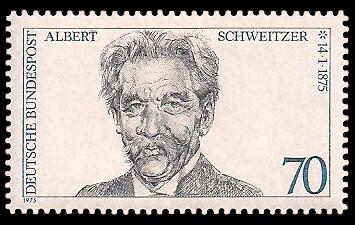 70 Pf Briefmarke: 100. Geburtstag Albert Schweitzer