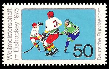 50 Pf Briefmarke: Weltmeisterschaft im Eishockey 1975