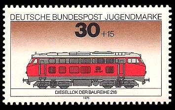 30 + 15 Pf Briefmarke: Jugendmarke 1975, Eisenbahn