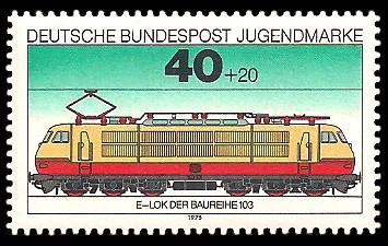 40 + 20 Pf Briefmarke: Jugendmarke 1975, Eisenbahn