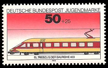 50 + 25 Pf Briefmarke: Jugendmarke 1975, Eisenbahn