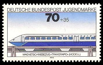 70 + 35 Pf Briefmarke: Jugendmarke 1975, Eisenbahn