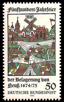 50 Pf Briefmarke: 500-Jahrfeier der Belagerung von Neuss