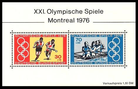 1,50 DM Briefmarke: Block: XXI.Olympische Spiele Montreal 1976
