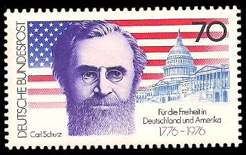 70 Pf Briefmarke: Carl Schurz / 200 Jahre Unabhängigkeit der USA
