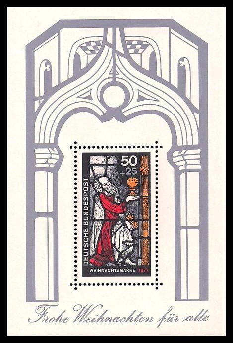 Briefmarke: Block mit Weihnachtsmarke 1977