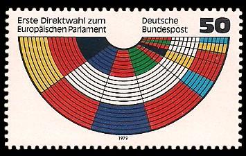 50 Pf Briefmarke: Erste Direktwahl zum Europäischen Parlament