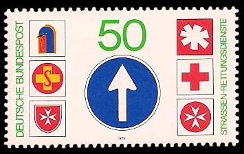 50 Pf Briefmarke: Straßen-Rettungsdienste