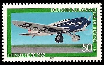 50 + 25 Pf Briefmarke: Für die Jugend, Flugzeuge