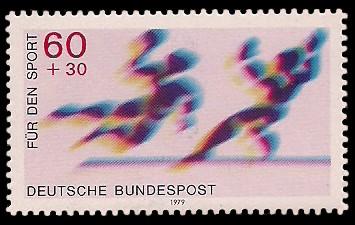 60 + 30 Pf Briefmarke: Für den Sport