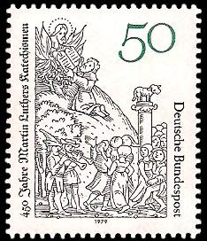 50 Pf Briefmarke: 450 Jahre Martin Luthers Katechismen