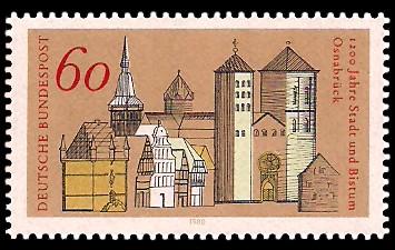 60 Pf Briefmarke: 1200 Jahre Stadt und Bistum Osnabrück