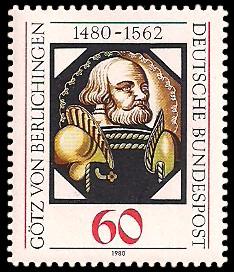 60 Pf Briefmarke: 500. Geburtstag Götz von Berlichingen