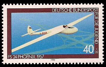 40 + 20 Pf Briefmarke: Für die Jugend, Flugzeuge
