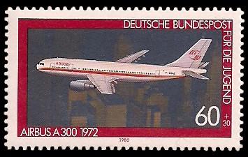 60 + 30 Pf Briefmarke: Für die Jugend, Flugzeuge
