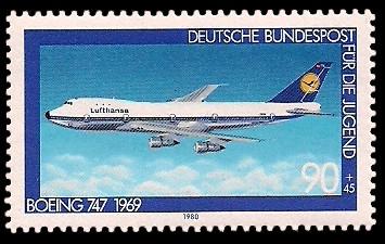 90 + 45 Pf Briefmarke: Für die Jugend, Flugzeuge