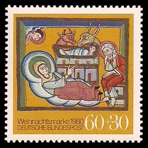 60 + 30 Pf Briefmarke: Weihnachtsmarke 1980