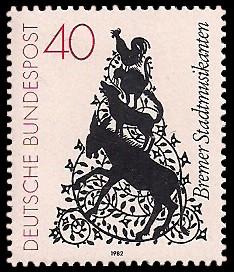 40 Pf Briefmarke: Bremer Stadtmusikanten