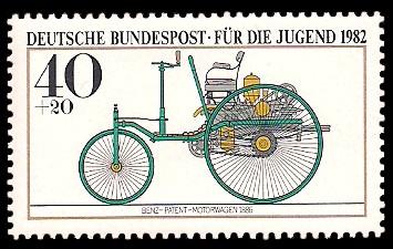 40 + 20 Pf Briefmarke: Für die Jugend, Kraftfahrzeuge