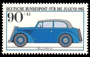 90 + 45 Pf Briefmarke: Für die Jugend, Kraftfahrzeuge