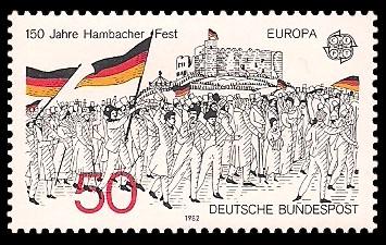 50 Pf Briefmarke: Europamarke 1982, 150 Jahre Hambacher Fest