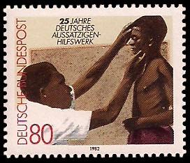 80 Pf Briefmarke: 25 Jahre Deutsches Aussätzigen-Hilfswerk