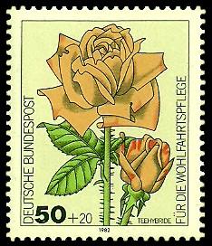 50 + 20 Pf Briefmarke: Für die Wohlfahrtspflege 1982, Rosen