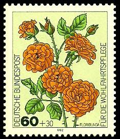 60 + 30 Pf Briefmarke: Für die Wohlfahrtspflege 1982, Rosen
