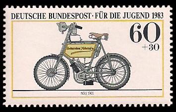 60 + 30 Pf Briefmarke: Für die Jugend, Motorräder