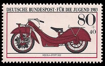 80 + 40 Pf Briefmarke: Für die Jugend, Motorräder